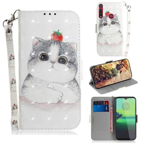 Cute Tomato Cat 3D Painted Leather Wallet Phone Case for Motorola One Macro