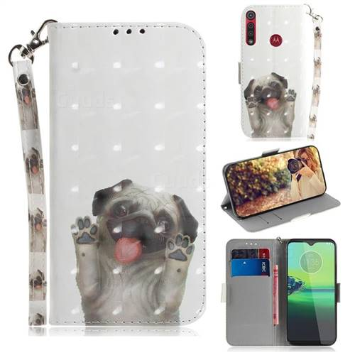 Pug Dog 3D Painted Leather Wallet Phone Case for Motorola One Macro