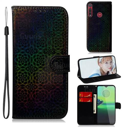 Laser Circle Shining Leather Wallet Phone Case for Motorola One Macro - Black