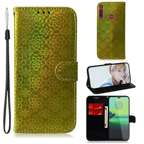 Laser Circle Shining Leather Wallet Phone Case for Motorola One Macro - Golden