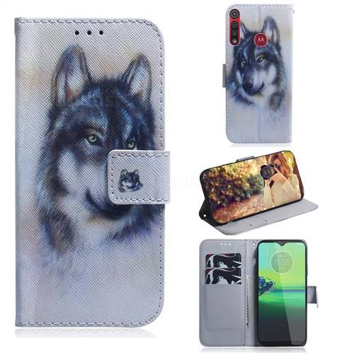 Snow Wolf PU Leather Wallet Case for Motorola One Macro