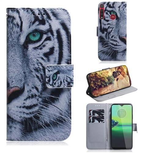 White Tiger PU Leather Wallet Case for Motorola One Macro