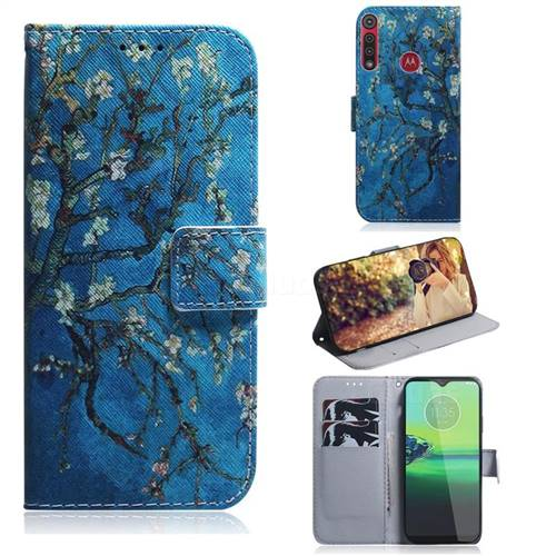 Apricot Tree PU Leather Wallet Case for Motorola One Macro