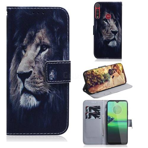 Lion Face PU Leather Wallet Case for Motorola One Macro