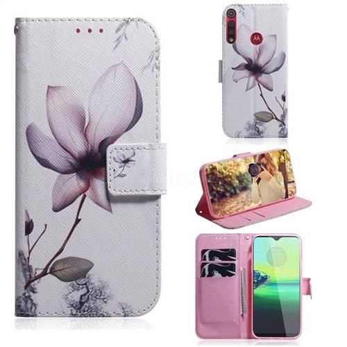 Magnolia Flower PU Leather Wallet Case for Motorola One Macro