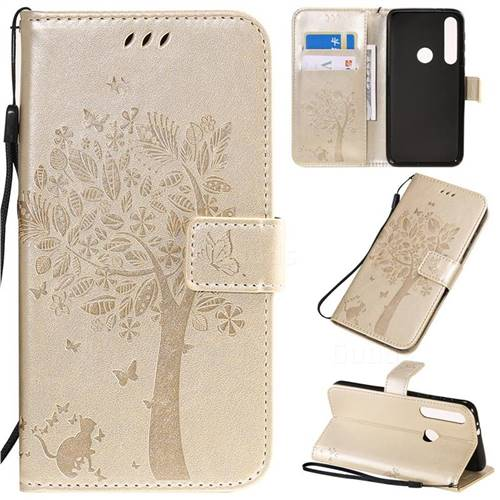 Embossing Butterfly Tree Leather Wallet Case for Motorola One Macro - Champagne