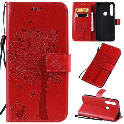 Embossing Butterfly Tree Leather Wallet Case for Motorola One Macro - Red