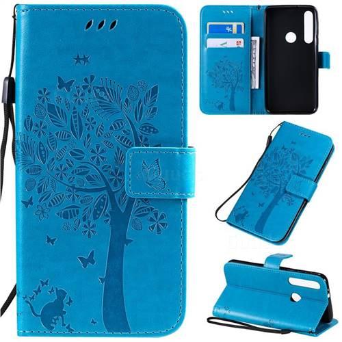 Embossing Butterfly Tree Leather Wallet Case for Motorola One Macro - Blue