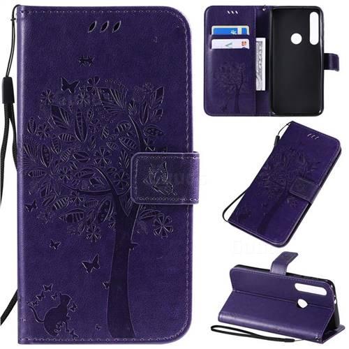 Embossing Butterfly Tree Leather Wallet Case for Motorola One Macro - Purple
