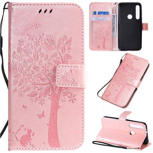 Embossing Butterfly Tree Leather Wallet Case for Motorola One Macro - Rose Pink