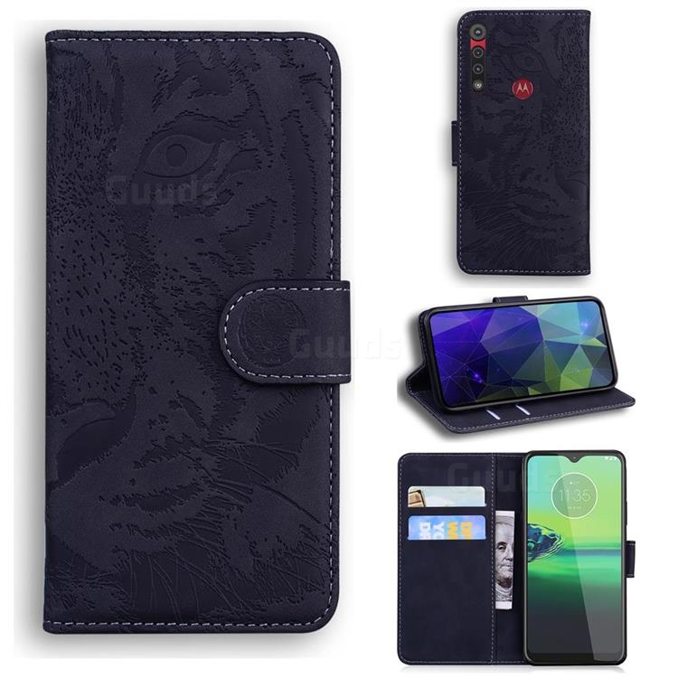 Intricate Embossing Tiger Face Leather Wallet Case for Motorola One Macro - Black