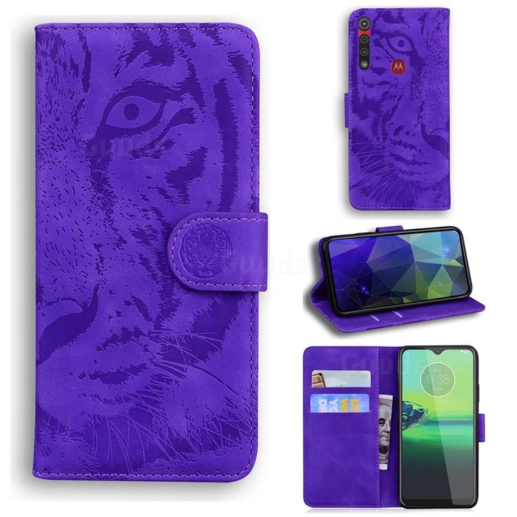 Intricate Embossing Tiger Face Leather Wallet Case for Motorola One Macro - Purple