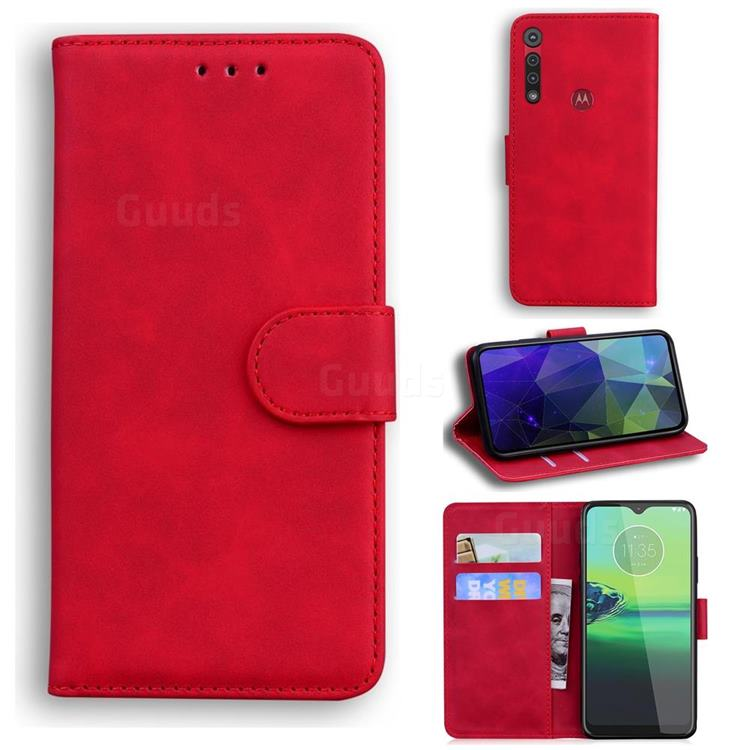 Retro Classic Skin Feel Leather Wallet Phone Case for Motorola One Macro - Red
