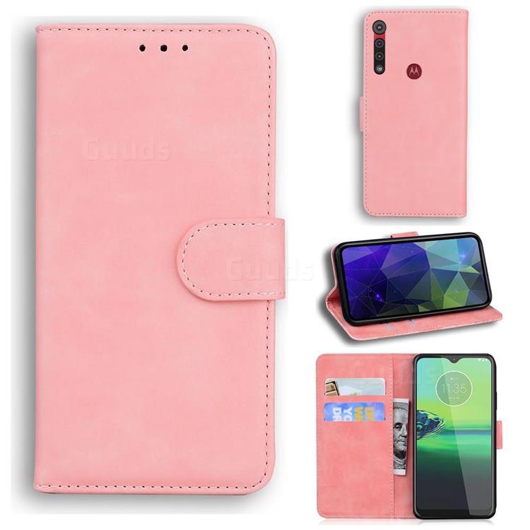Retro Classic Skin Feel Leather Wallet Phone Case for Motorola One Macro - Pink