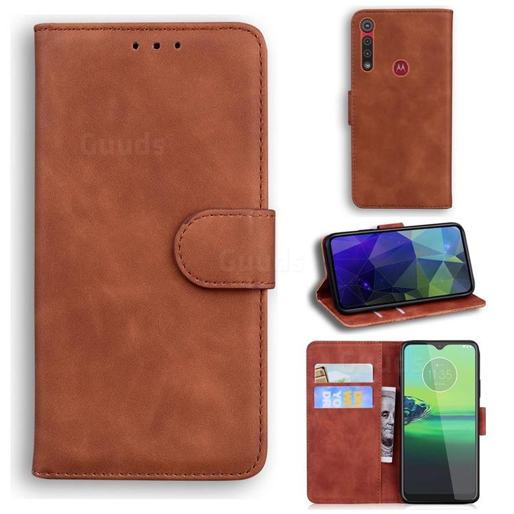 Retro Classic Skin Feel Leather Wallet Phone Case for Motorola One Macro - Brown