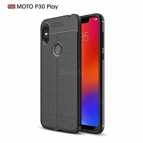 Luxury Auto Focus Litchi Texture Silicone TPU Back Cover for Motorola One (P30 Play) - Black