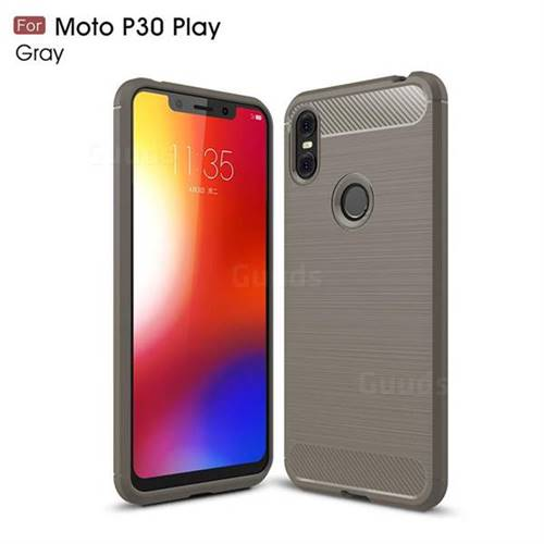 more photos 80d95 b4102 Luxury Carbon Fiber Brushed Wire Drawing Silicone TPU Back Cover for  Motorola One (P30 Play) - Gray