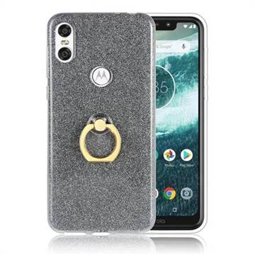 Luxury Soft TPU Glitter Back Ring Cover with 360 Rotate Finger Holder Buckle for Motorola One (P30 Play) - Black