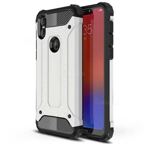 King Kong Armor Premium Shockproof Dual Layer Rugged Hard Cover for Motorola One (P30 Play) - White