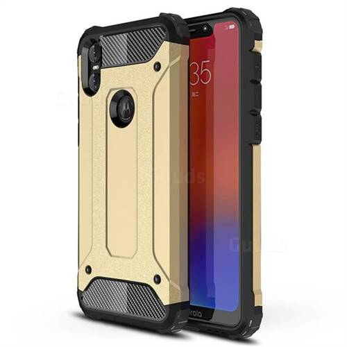 King Kong Armor Premium Shockproof Dual Layer Rugged Hard Cover for Motorola One (P30 Play) - Champagne Gold