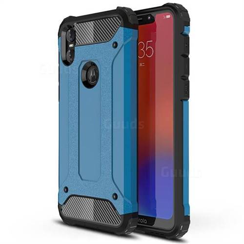 King Kong Armor Premium Shockproof Dual Layer Rugged Hard Cover for Motorola One (P30 Play) - Sky Blue