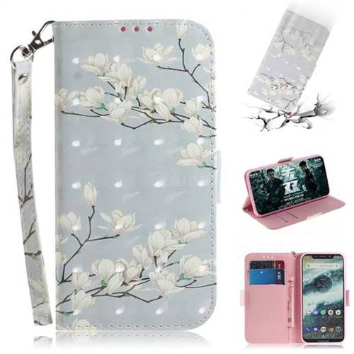 Magnolia Flower 3D Painted Leather Wallet Phone Case for Motorola One (P30 Play)