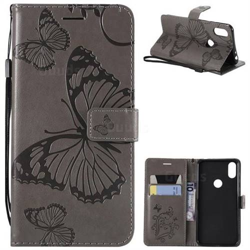 Embossing 3D Butterfly Leather Wallet Case for Motorola One (P30 Play) - Gray