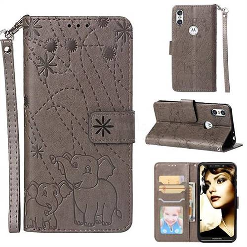 Embossing Fireworks Elephant Leather Wallet Case for Motorola One (P30 Play) - Gray