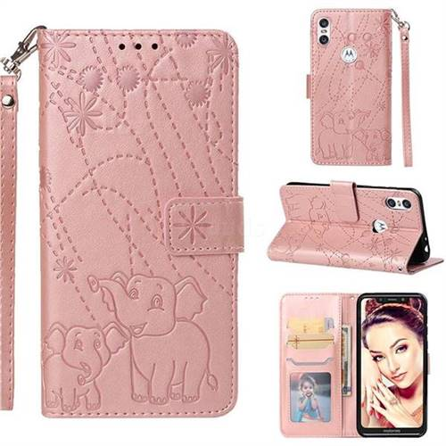 Embossing Fireworks Elephant Leather Wallet Case for Motorola One (P30 Play) - Rose Gold