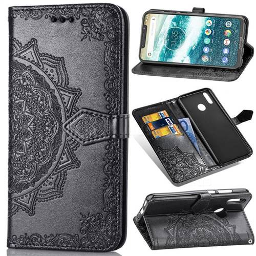 Embossing Imprint Mandala Flower Leather Wallet Case for Motorola One (P30 Play) - Black