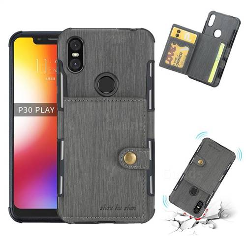 Brush Multi-function Leather Phone Case for Motorola One (P30 Play) - Gray
