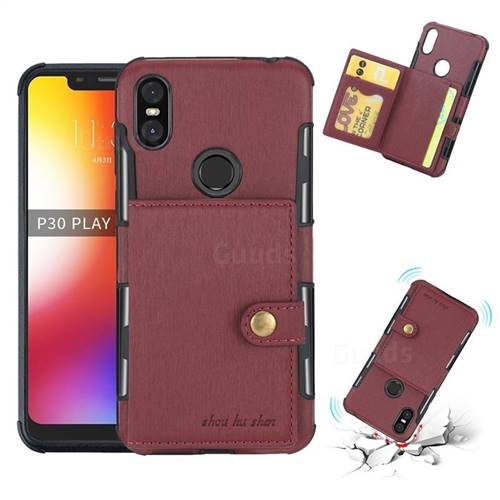 Brush Multi-function Leather Phone Case for Motorola One (P30 Play) - Wine Red
