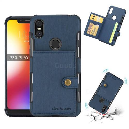 Brush Multi-function Leather Phone Case for Motorola One (P30 Play) - Blue