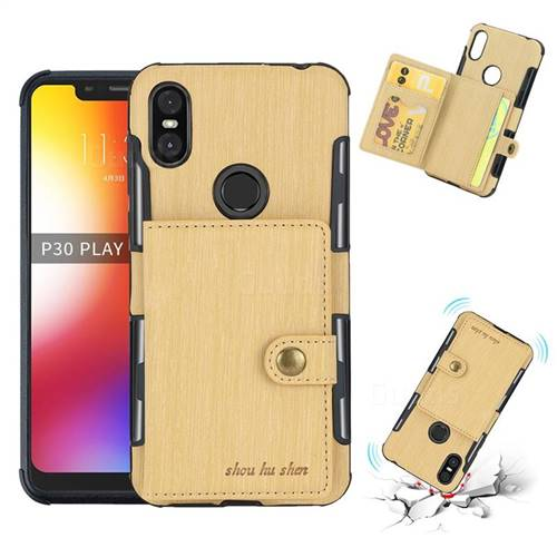 Brush Multi-function Leather Phone Case for Motorola One (P30 Play) - Golden