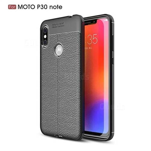 Luxury Auto Focus Litchi Texture Silicone TPU Back Cover for Motorola One Power (P30 Note) - Black