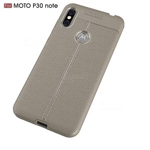promo code 18242 2ec6b Luxury Auto Focus Litchi Texture Silicone TPU Back Cover for Motorola One  Power (P30 Note) - Gray