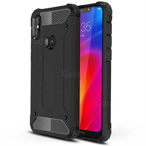 King Kong Armor Premium Shockproof Dual Layer Rugged Hard Cover for Motorola One Power (P30 Note) - Black Gold