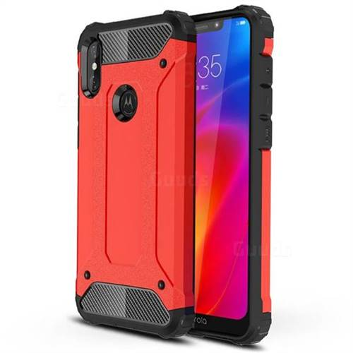 King Kong Armor Premium Shockproof Dual Layer Rugged Hard Cover for Motorola One Power (P30 Note) - Big Red