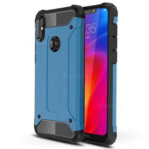 King Kong Armor Premium Shockproof Dual Layer Rugged Hard Cover for Motorola One Power (P30 Note) - Sky Blue