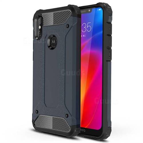 King Kong Armor Premium Shockproof Dual Layer Rugged Hard Cover for Motorola One Power (P30 Note) - Navy
