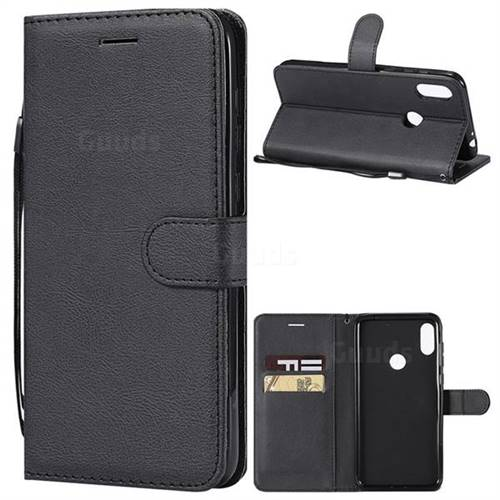 Retro Greek Classic Smooth PU Leather Wallet Phone Case for Motorola One Power (P30 Note) - Black