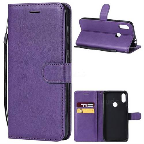 Retro Greek Classic Smooth PU Leather Wallet Phone Case for Motorola One Power (P30 Note) - Purple
