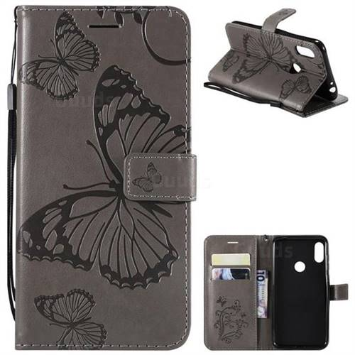Embossing 3D Butterfly Leather Wallet Case for Motorola One Power (P30 Note) - Gray