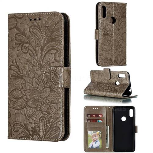 Intricate Embossing Lace Jasmine Flower Leather Wallet Case for Motorola One Power (P30 Note) - Gray