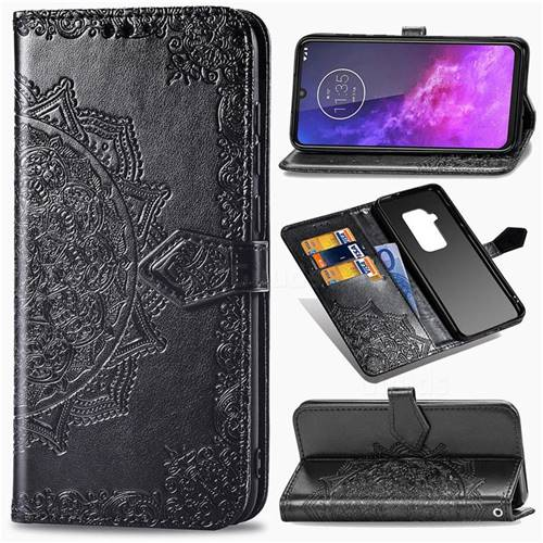 Embossing Imprint Mandala Flower Leather Wallet Case for Motorola One Zoom - Black