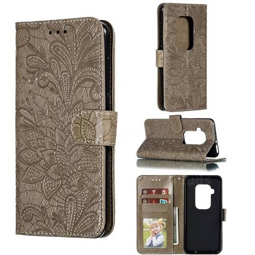 Intricate Embossing Lace Jasmine Flower Leather Wallet Case for Motorola One Zoom - Gray