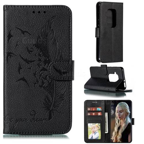 Intricate Embossing Lychee Feather Bird Leather Wallet Case for Motorola One Zoom - Black