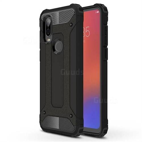 King Kong Armor Premium Shockproof Dual Layer Rugged Hard Cover for Motorola Moto P40 - Black Gold