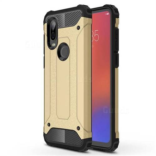 King Kong Armor Premium Shockproof Dual Layer Rugged Hard Cover for Motorola Moto P40 - Champagne Gold
