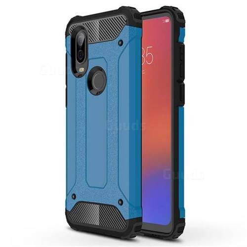 King Kong Armor Premium Shockproof Dual Layer Rugged Hard Cover for Motorola Moto P40 - Sky Blue